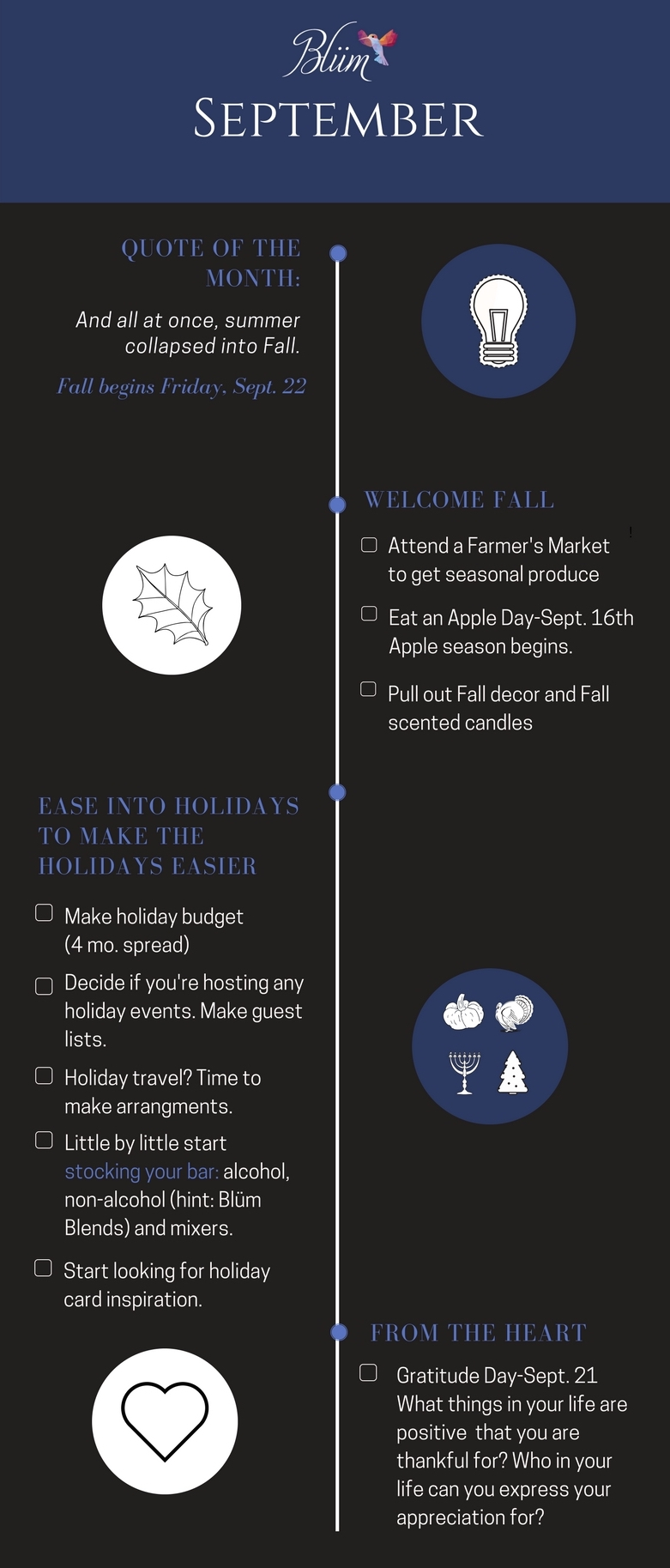Blüm's September Infographic, Tips and Checklist
